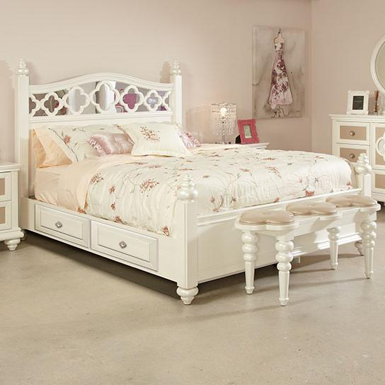 Najarian Paris Youth Bedroom Full Panel Bed w/ Storage - Item Number: BDPARHBFP+BDPARRSSFTP+BDPARFBFP