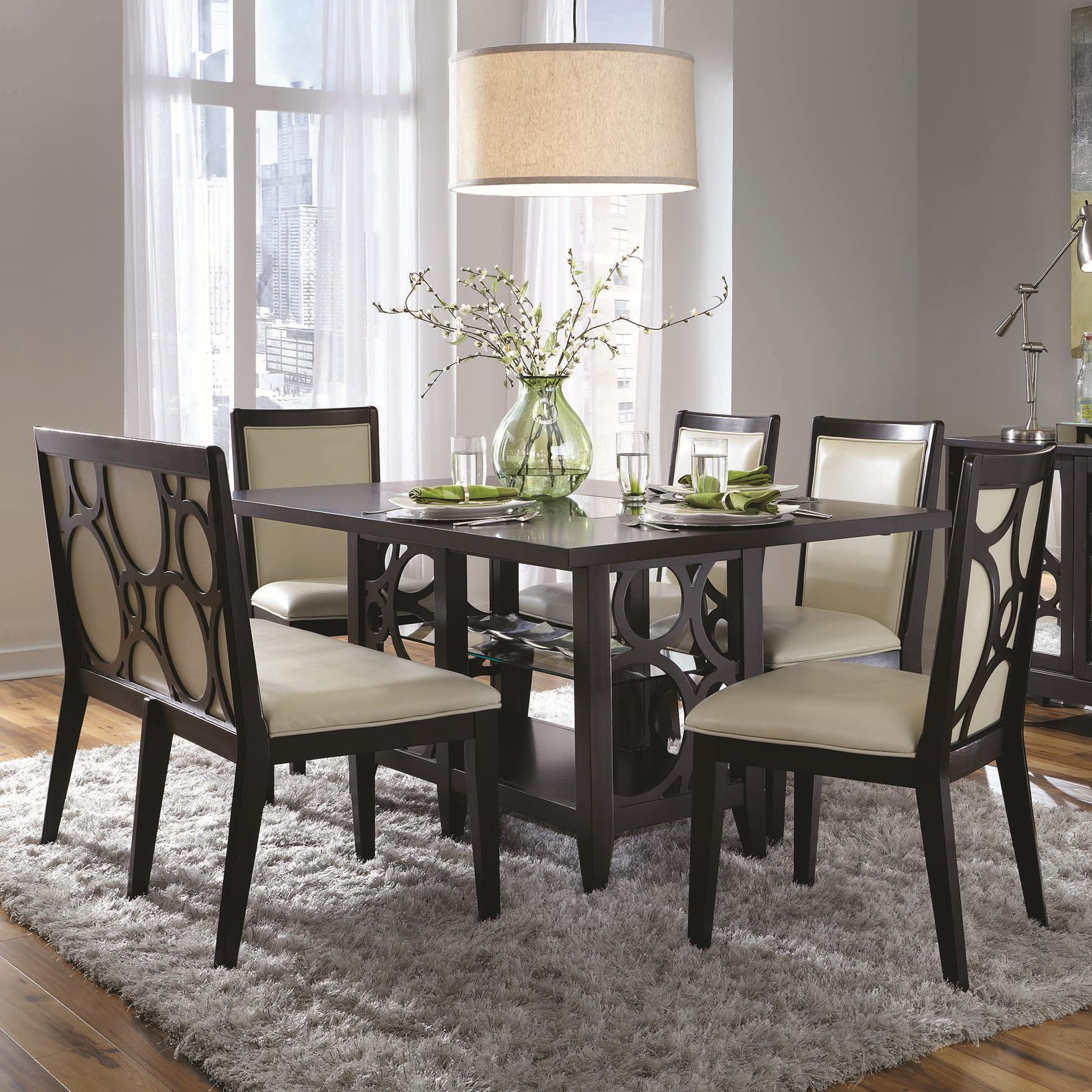 Najarian Planet 6 Pc Dining Table and Chairs Set - Item Number: Recttable+4XCRPLASC+CRPLASB