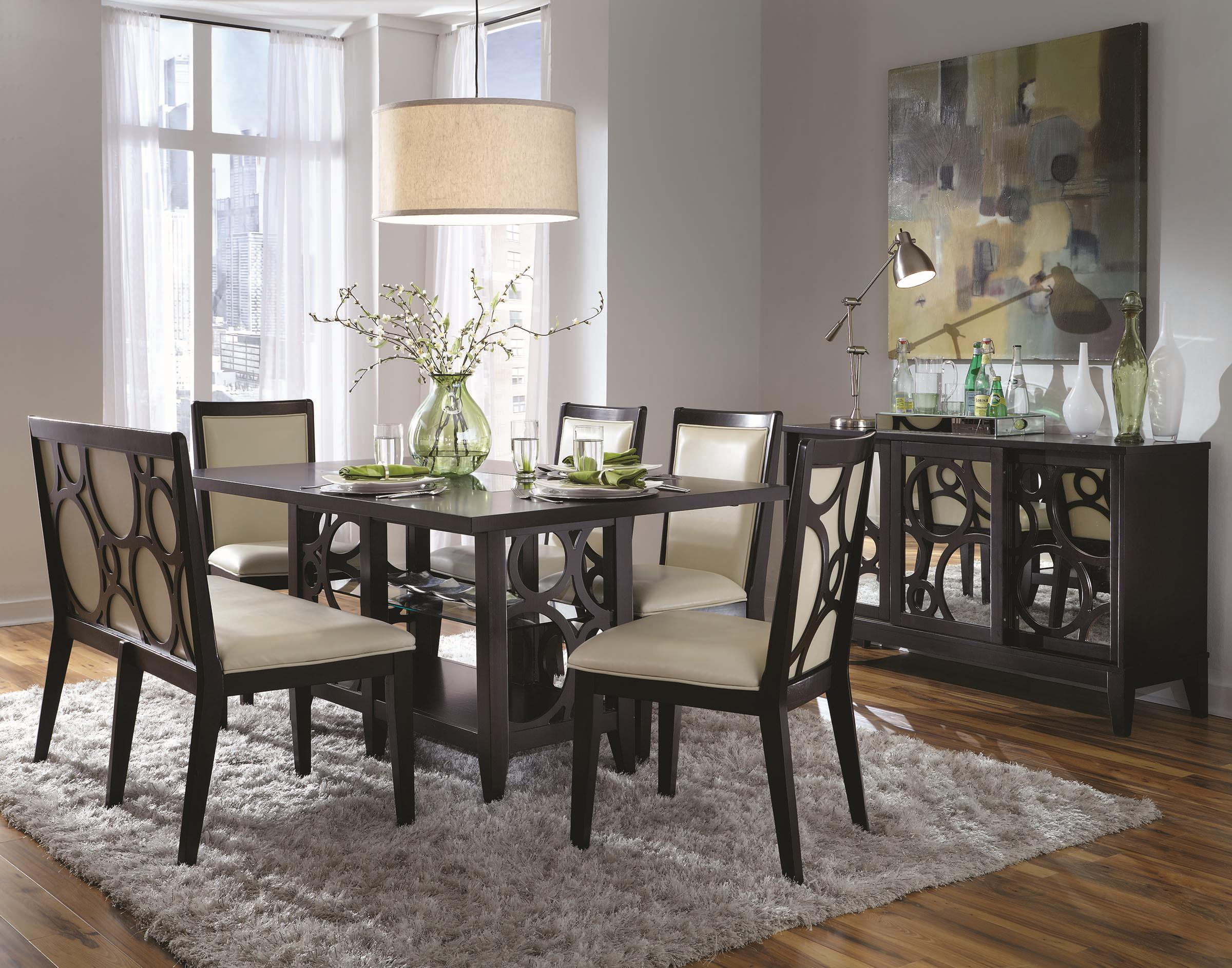 Six Piece Contemporary Dining Table And Chairs Set With