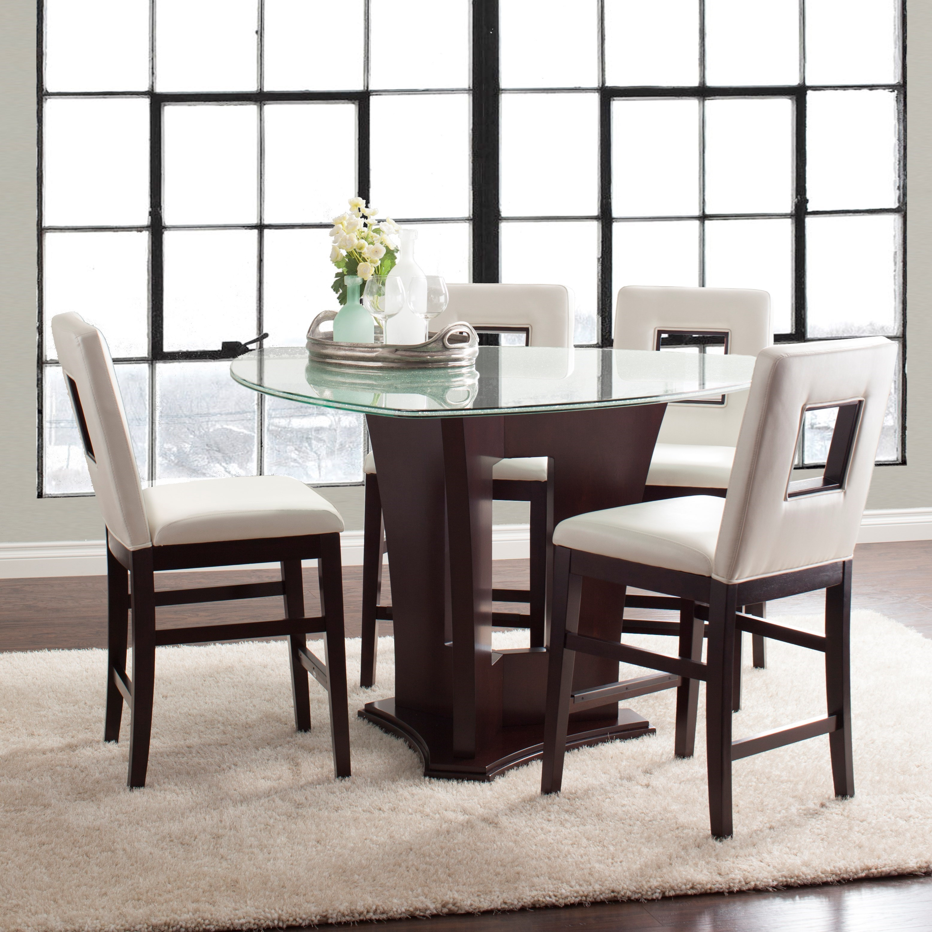 Glass Table Dining Set: Najarian Soho Five Piece Counter Height Dining Set With