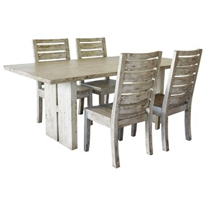 Bon Rustic 5 Piece Dining Set With Ladderback Chairs