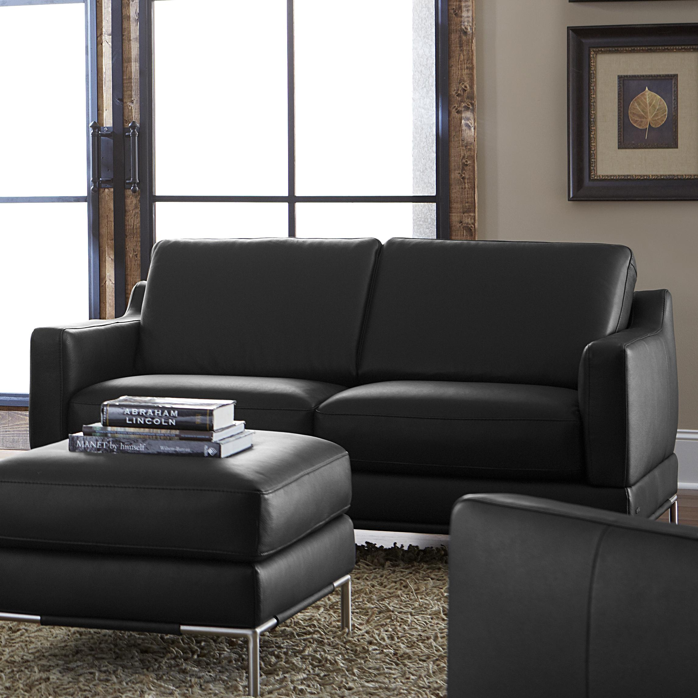 Natuzzi Editions B754 Contemporary Loveseat With Track