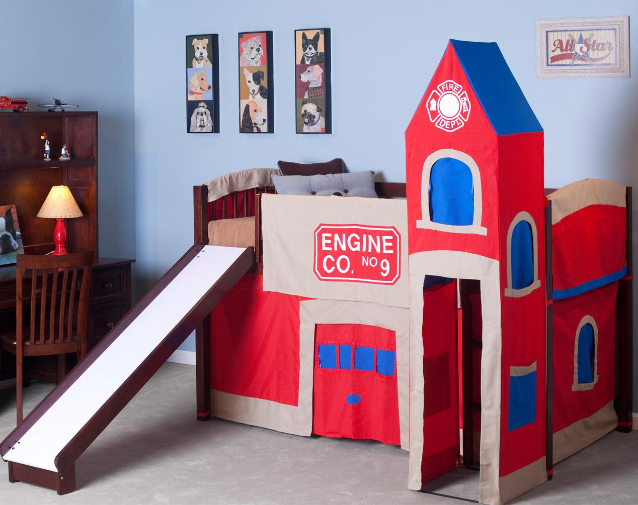 NE Kids School House Junior Loft and Firehouse Tent - Item Number 5060+0010 & NE Kids School House Junior Loft Bed w/ Firehouse Tent | Wayside ...