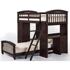 NE Kids School House Twin Student Loft Bed with Lower Bed