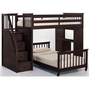 NE Kids School House Twin Stair Loft Bed