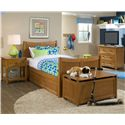 NE Kids School House Twin Taylor Headboard and Footboard Bed w/ Storage - Shown in Room Setting with Nightstand, Storage Box and Three Drawer Chest