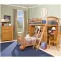 NE Kids School House Student Loft w/ Desk and Chest End - Shown in Room Setting with Lower Bed, School Chair and Five-Drawer Chest