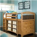NE Kids School House Horizontal Book Case w/ Adjustable Shelves - Shown with Junior Loft Bed, 3 Drawer Chest and Short Vertical Bookcase