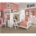 NE Kids School House Junior Loft Bed w/ Ladder - Shown in Room Setting with Lower Bed, Desk, Chair, Mirror and Three Drawer Chest