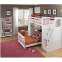 NE Kids School House Junior Loft Bed w/ Ladder - Shown in Room Setting with Lower Bed, Storage Stairs and Vertical Shelf