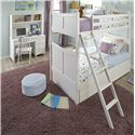 NE Kids School House Single Pedestal Desk w/ Hutch - Shown in Room Setting with Bunk Bed