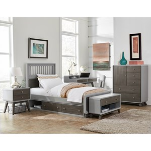 NE Kids East End Grey Full Spindle Bedroom Group with Trundle
