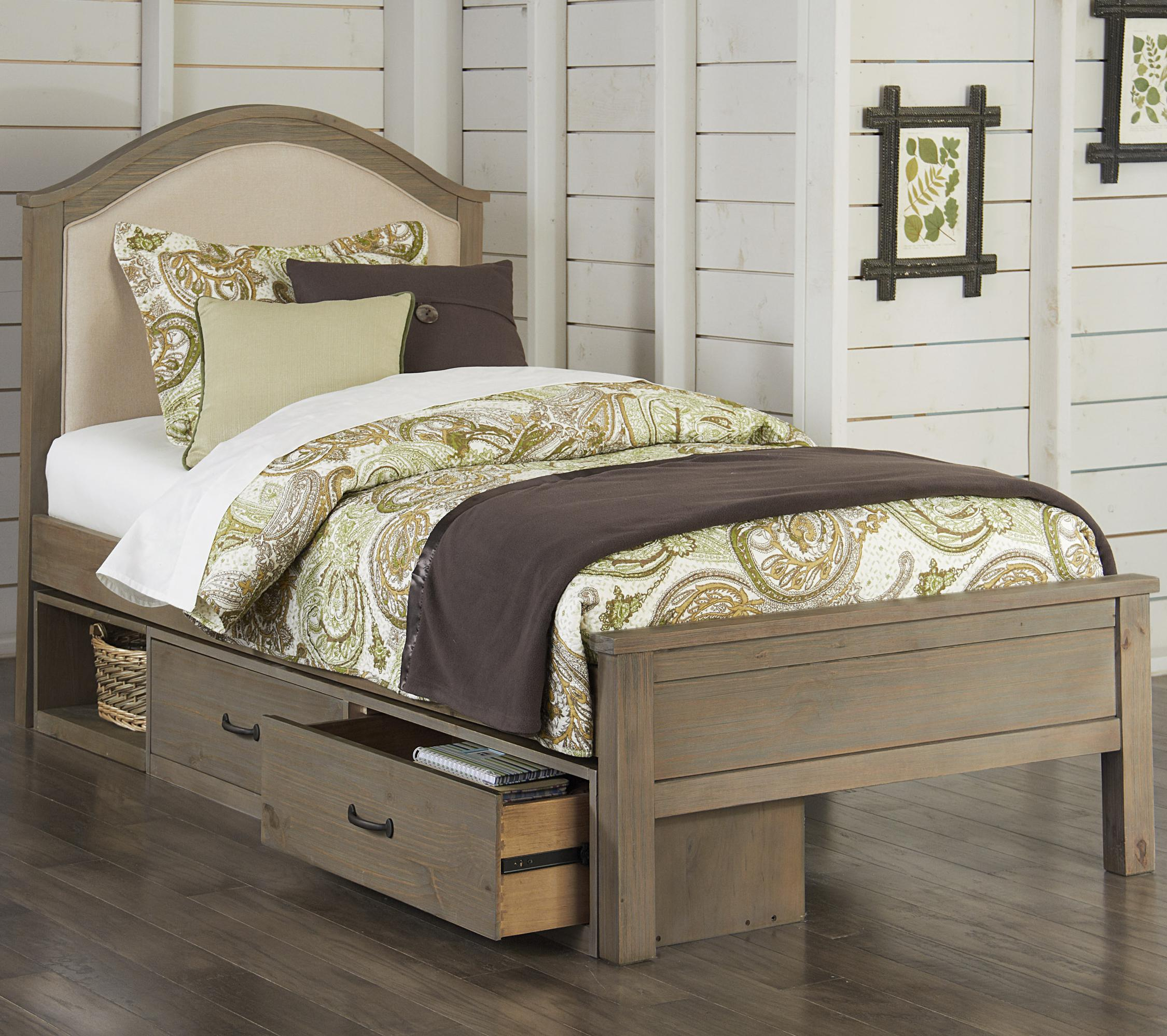 NE Kids Highlands Twin Bailey Upholstered Bed with Storage - Item Number: 10010+10590
