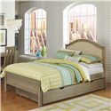 NE Kids Highlands Full Bailey Bed with Cream Upholstered Headboard and Under Bed Trundle - Bed Shown May Not Represent Size Indicated