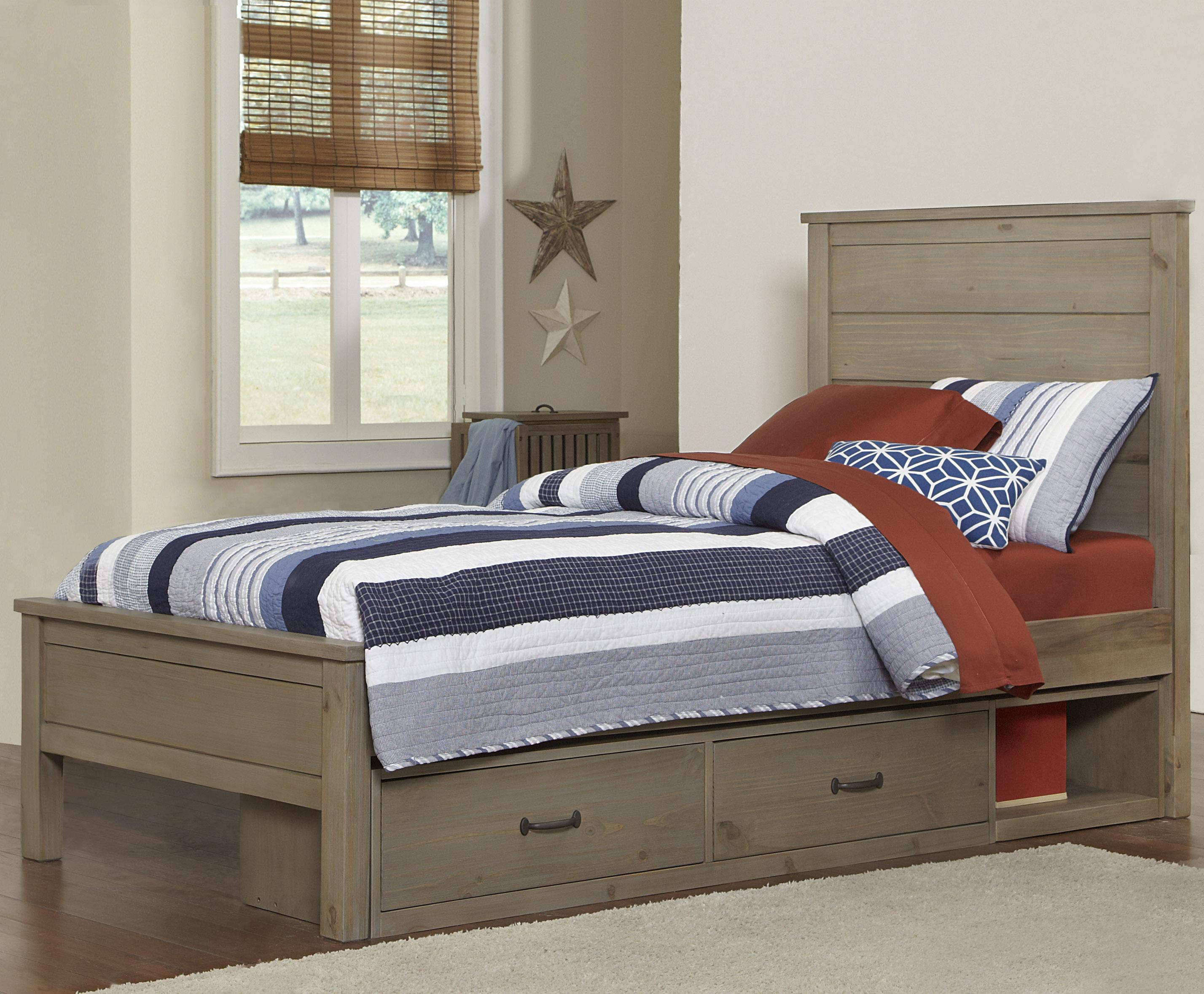 NE Kids Highlands Twin Alex Flat Panel Bed with Storage - Item Number: 10020+10590