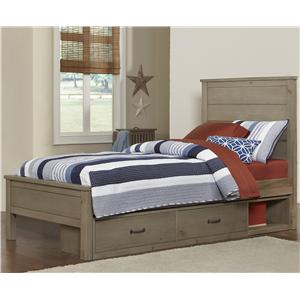NE Kids Highlands Twin Alex Flat Panel Bed with Storage