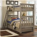 NE Kids Highlands Mission Style Twin Over Twin Harper Bunk Bed with Hanging Tray and Under Bed Trundle - Bed Shown May Not Represent Size Indicated