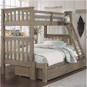NE Kids Highlands Mission Style Twin Over Full Bunk Bed with Hanging Tray and Under Bed Trundle