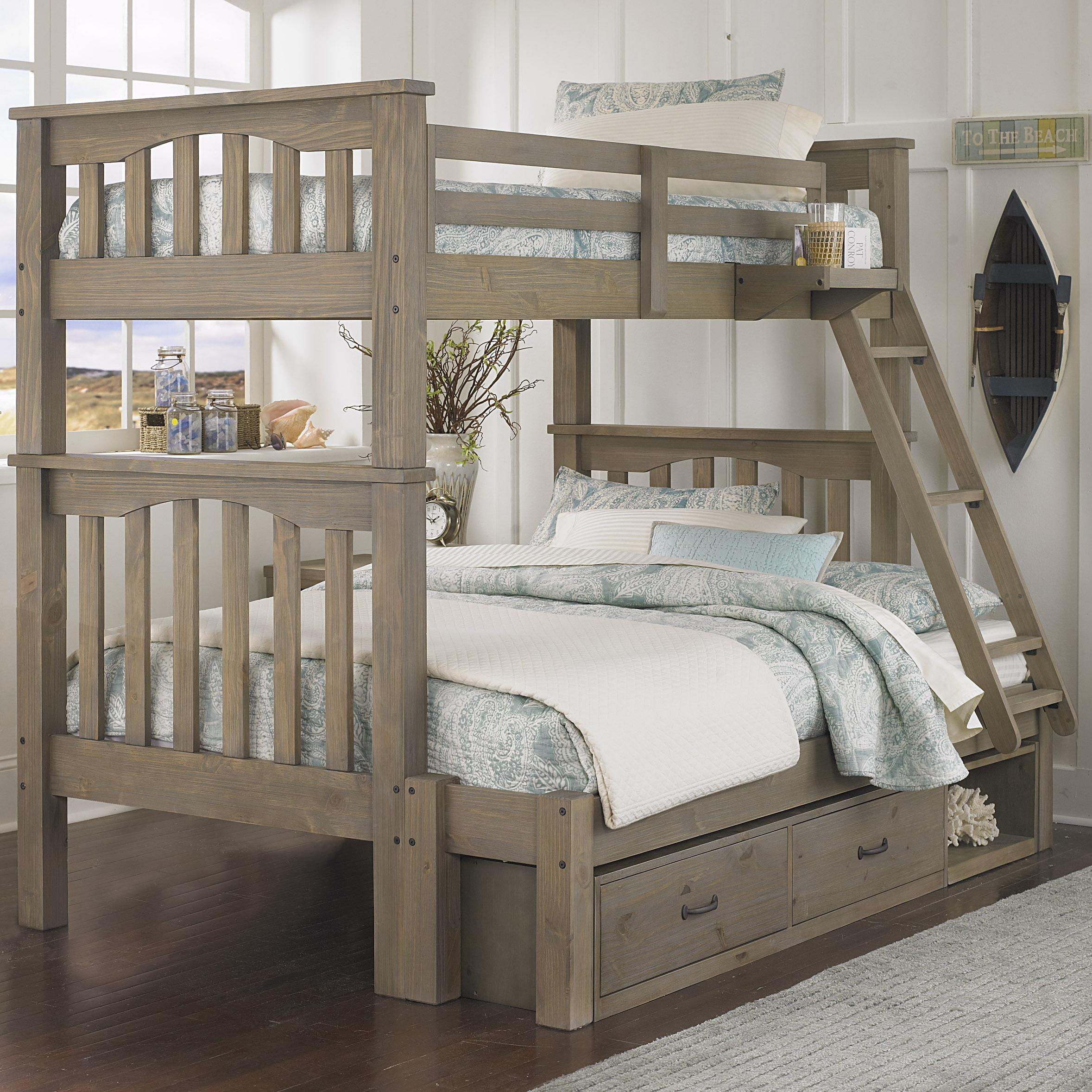 NE Kids Highlands Twin Over Full Harper Bunk Bed with Storage - Item Number: 10055+10590