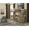 NE Kids Highlands Mission Style Twin Loft Bed with Desk