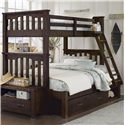 NE Kids Highlands Twin Over Full Harper Bunk Bed with Storage - Item Number: 11055+11590