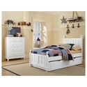 NE Kids Lake House Twin Panel Bed with with Chamfered Posts, Ball Finials and Trundle