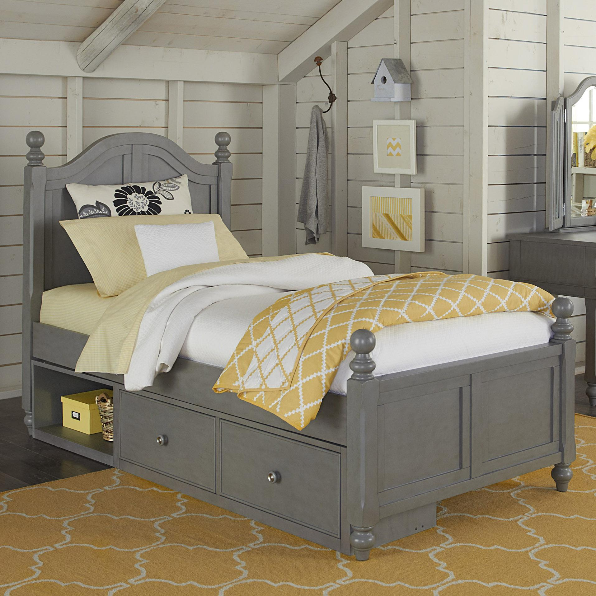 NE Kids Lake House Twin Payton (Arch) Bed + Storage Unit - Item Number: 2010+2580