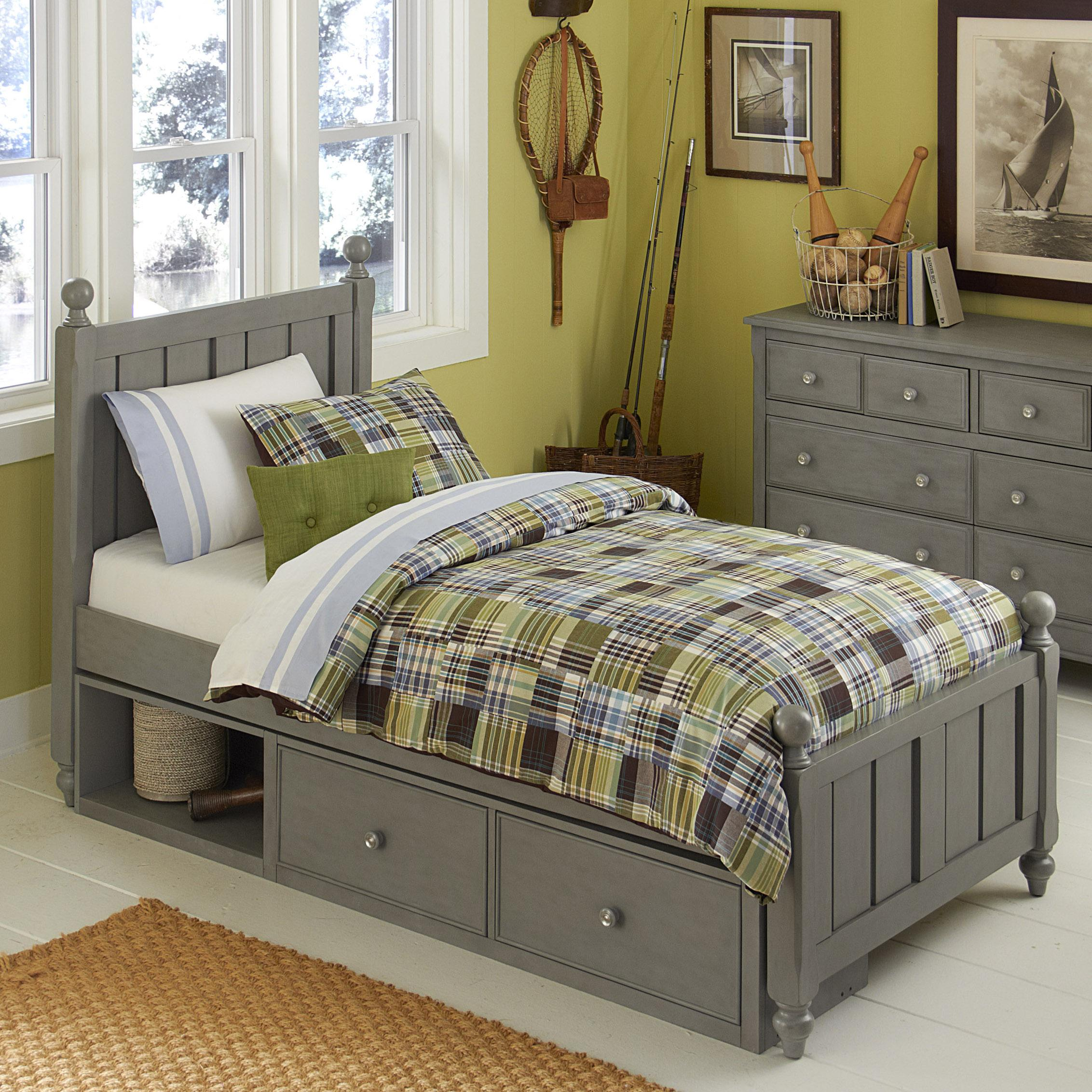 Picture of: Ne Kids Lake House Twin Panel Bed With Chamfered Posts Ball Finials And Underneath Storage Dunk Bright Furniture Panel Beds
