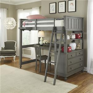 NE Kids Lake House Twin Loft Bed with Desk