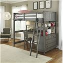 NE Kids Lake House Twin Loft Bed with Desk - Item Number: 2040A+B+C+D+E+F