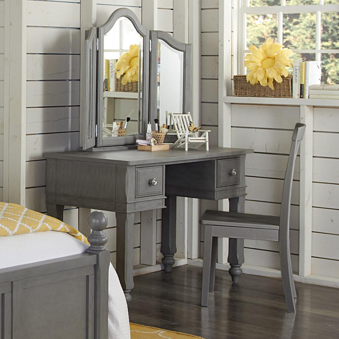NE Kids Lake House Writing Desk + Vanity Jewelry Mirror + Chair - Item Number: 2540+2560+2555