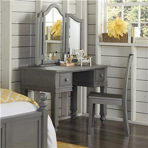 NE Kids Lake House Writing Desk + Vanity Jewelry Mirror + Chair