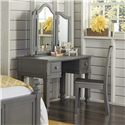 NE Kids Lake House Kids Writing Desk with Vanity Jewelry Mirror and Chair