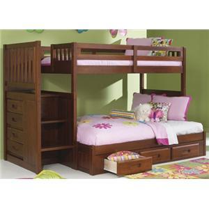 NE Kids Merlot Twin/Full Staircase Bunk Bed
