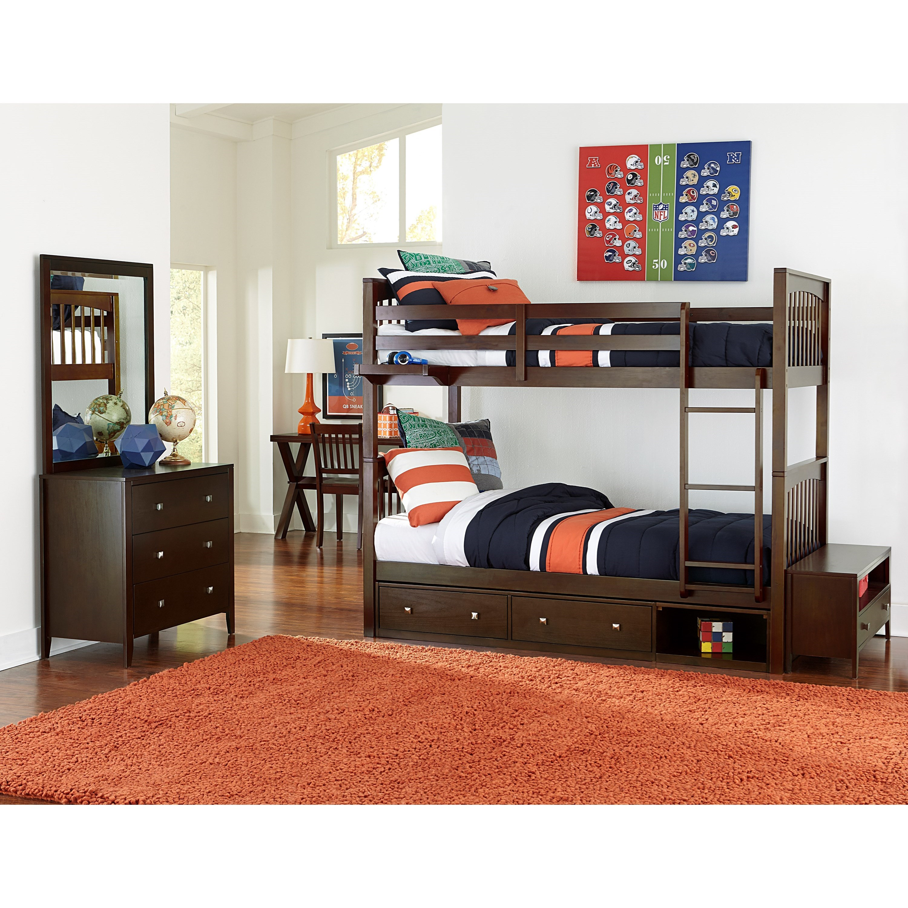 Ne Kids Pulse Twin Bunk Bed Room Group With Storage Unit