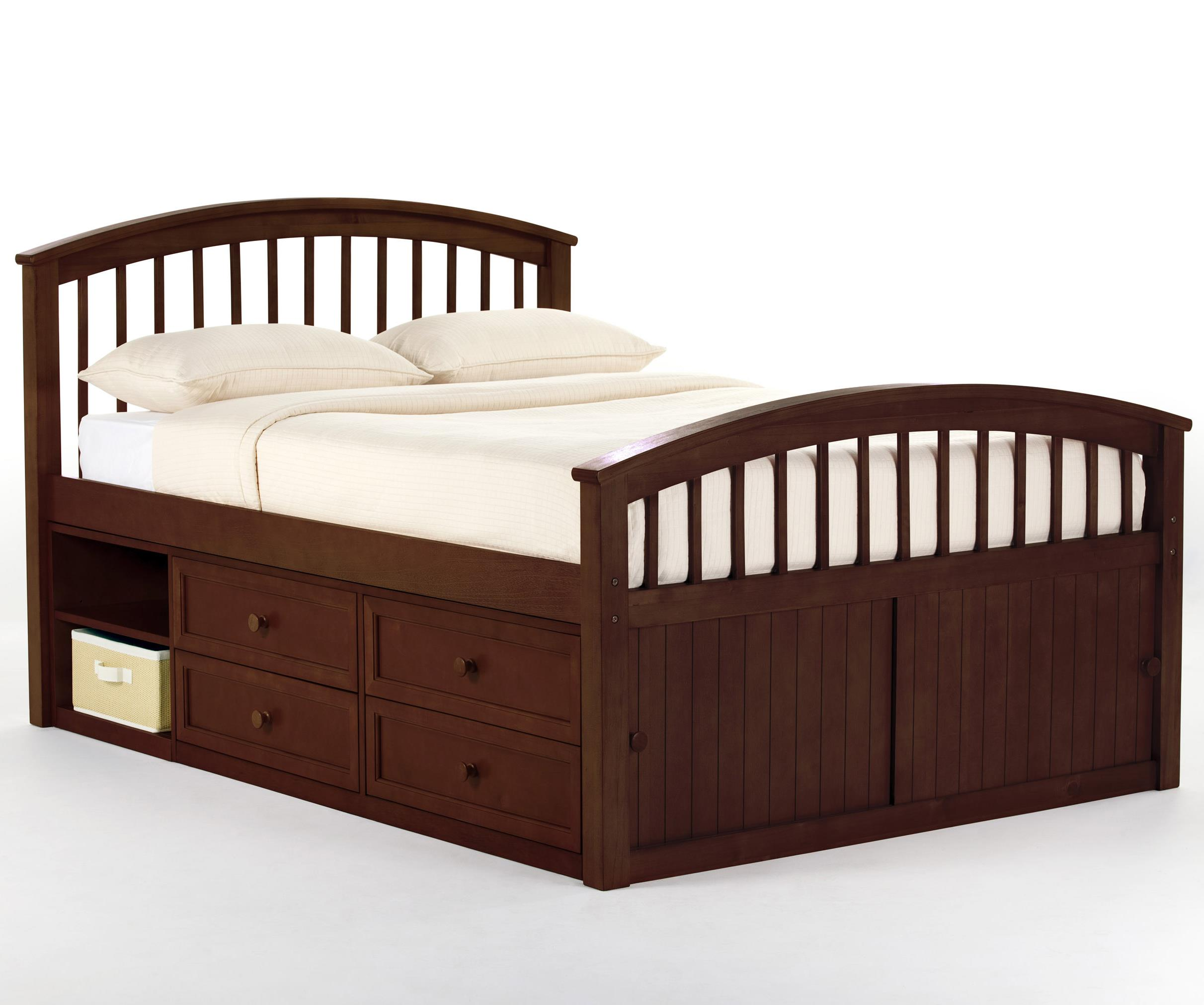 captains trundle irving in bookcase kids portofino donco cappuccino hugo full bed