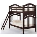 NE Kids School House Twin Jordan Child's Bed w/ Arched Headboard and Footboard - Shown as Bunk Bed with Ladder