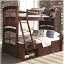 NE Kids Walnut Street Twin Over Full Bunk Bed - Item Number: 9055+9090