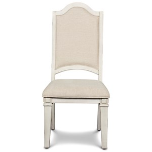 Relaxed Vintage Dining Side Chair with Upholstered Seat