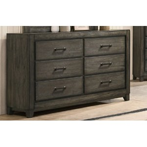 Casual 6-Drawer Dresser with Felt-Lined Top Drawers