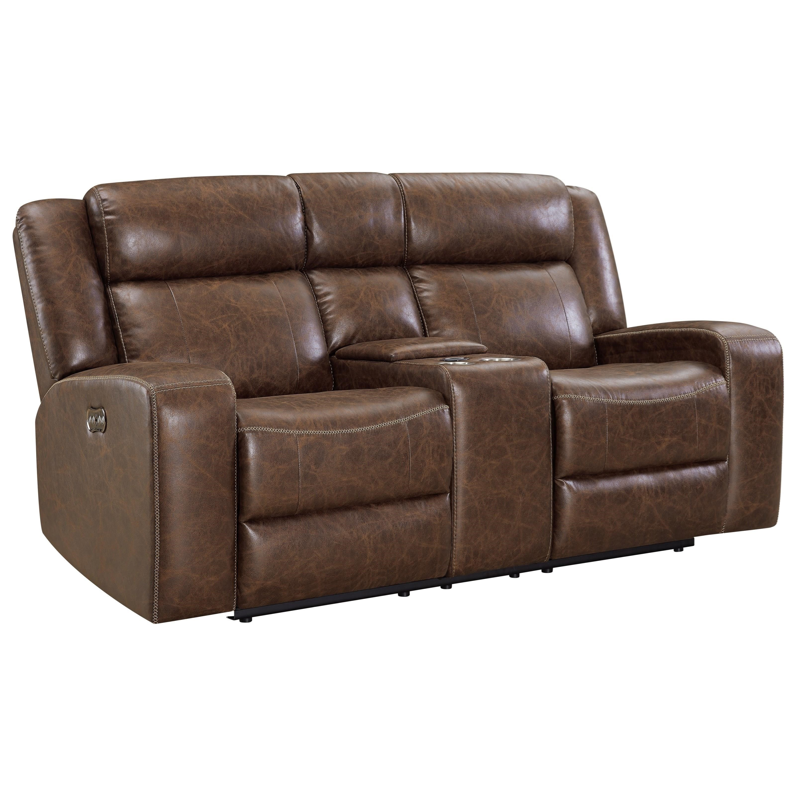 Atticus Dual Recliner Console Loveseat by New Classic at Rife's Home Furniture