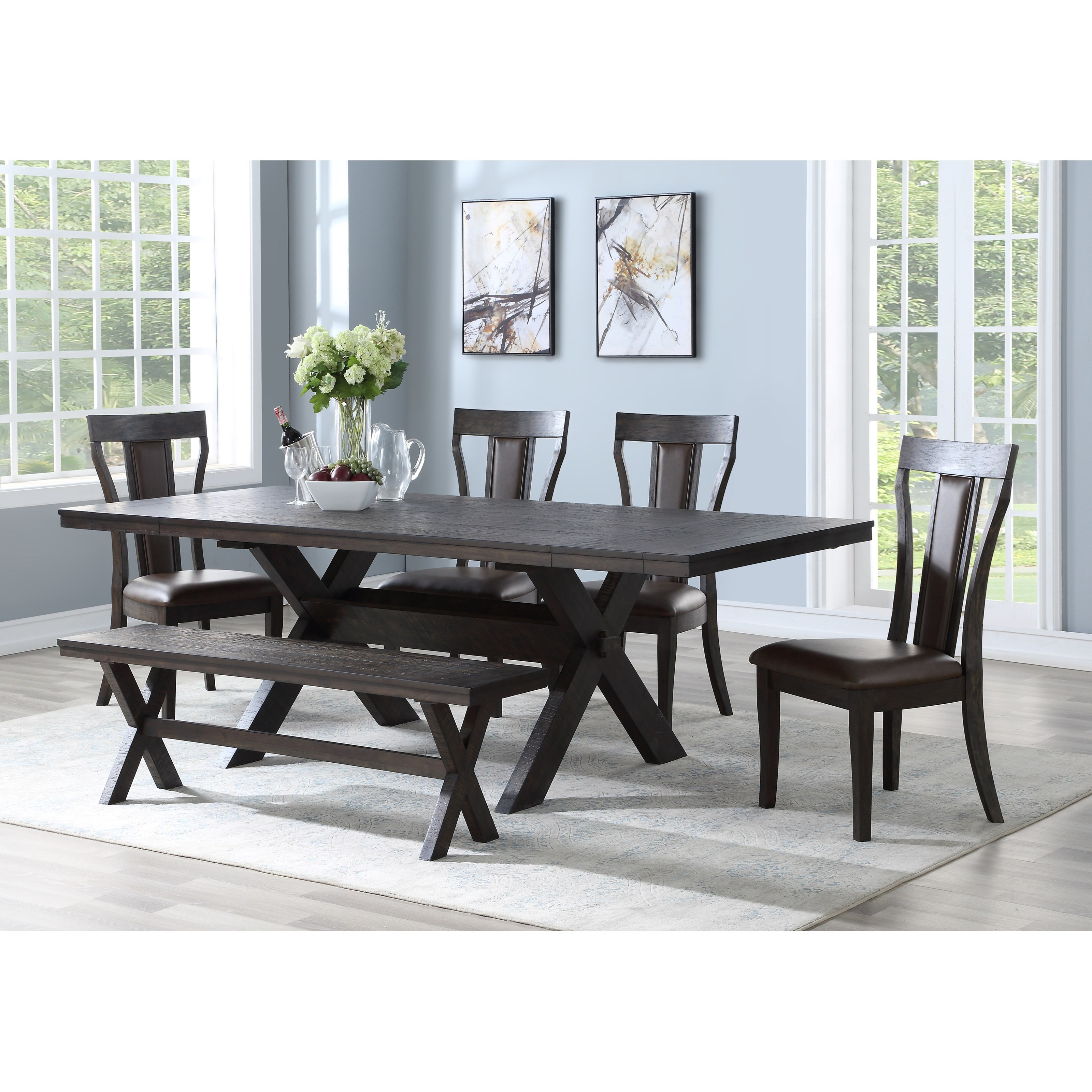 New Classic Aubree D682 10t 10b 25 4x20 Contemporary Table And Chair Set With Bench And 2 Extension Leaves Corner Furniture Table Chair Set With Bench