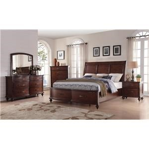 New Classic La Jolla King Storage Bed, Dresser, Mirror & Nightsta