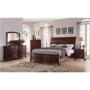 New Classic La Jolla King Storage Bed, Dresser, Mirror & Nightsta