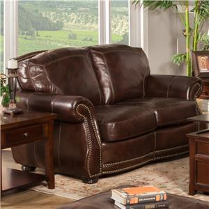 New Classic Barrett 100% Leather Traditional Love Seat