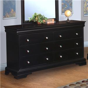 New Classic Belle Rose Youth Youth Six Drawer Dresser