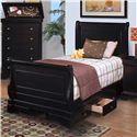 New Classic Belle Rose Youth Twin Sleigh Bed - Item Number: 00-013-510+520+530+597