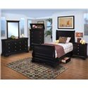 New Classic Belle Rose Youth Full Sleigh Bed w/ Underbed Storage - Shown in Room Setting with Dresser, Mirror, Chest and Nightstand