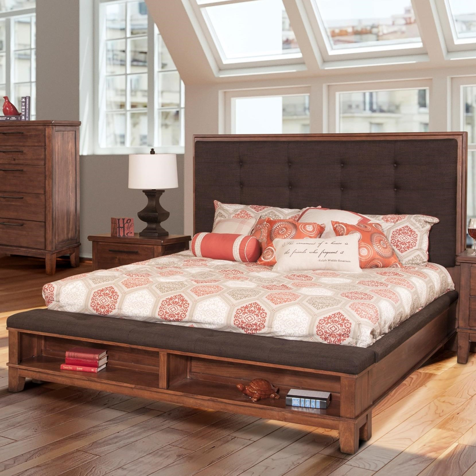New Classic Cagney Transitional Upholstered Queen Platform Bed With Footboard