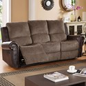 New Classic Callahan Traditional Reclining Sofa with Two Tone Leather and Fabric Cover - Image Shown May Not Represent Exact Features Indicated